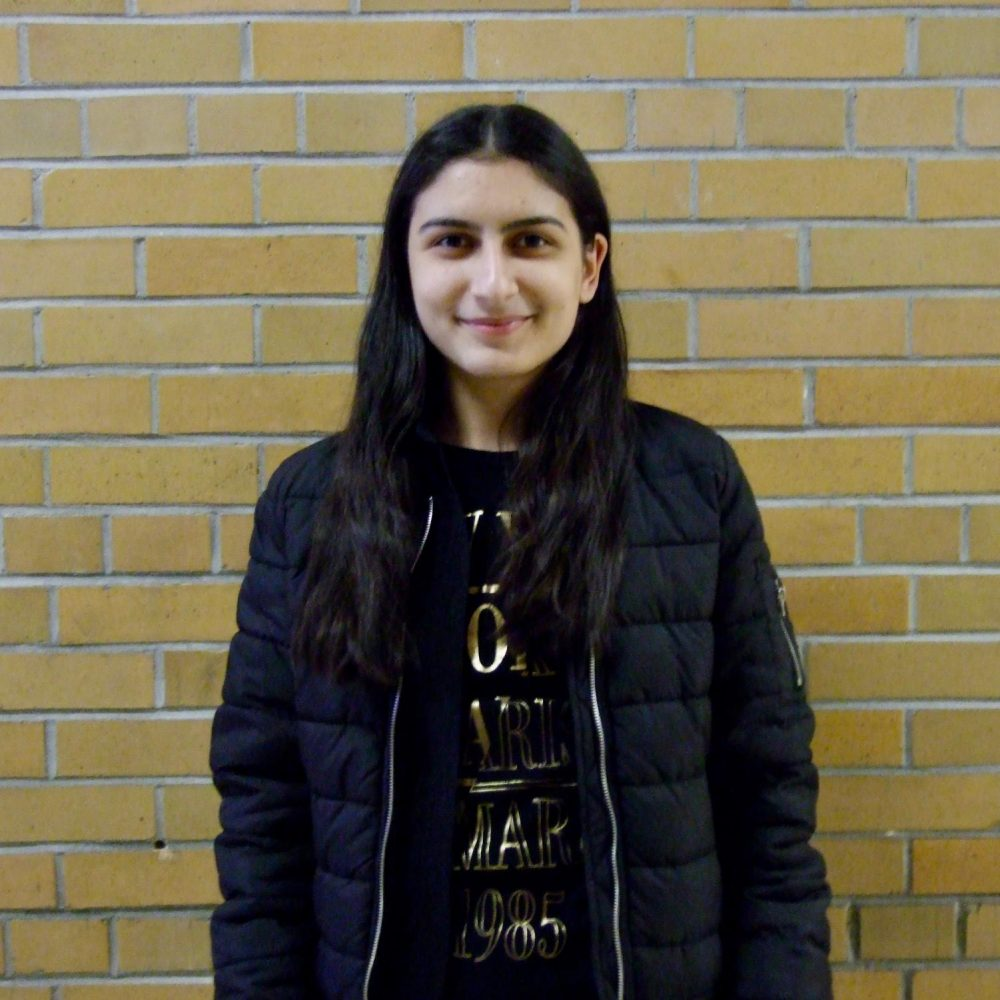 Anna Misakya, Armenian foreign exchange student, attends school at Schuyler Central High School.