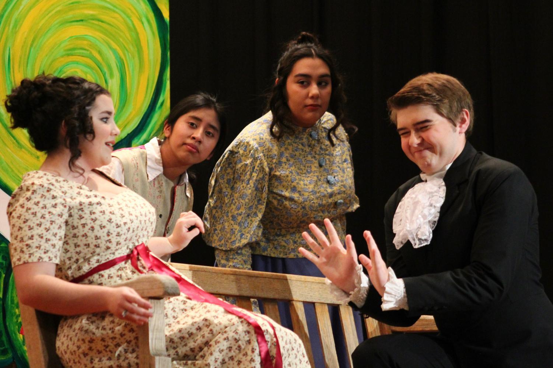 Chloe Beltrand, Jaqueline Lopez, Jessenia De La Torre, Kasey Brabec portraying a shocking comic moment.