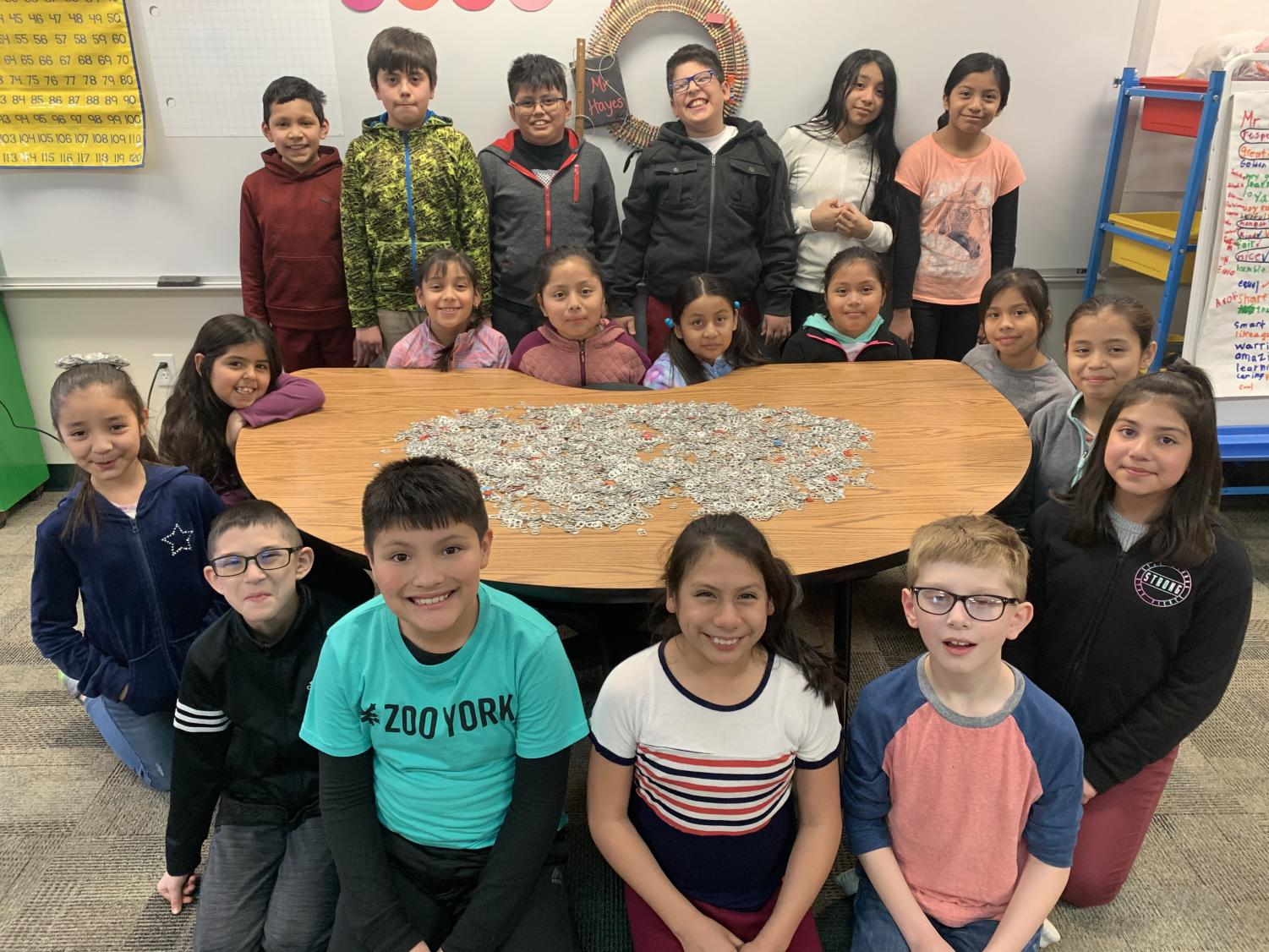 SES fourth grade class saves pop tabs for charity.