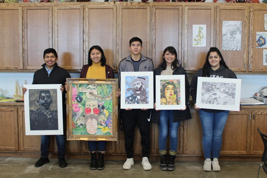 The+SCHS+art+students+with+their+artwork.+%28Not+pictured+are%3A+Chloe+Beltrand%2C+Cassie+Macholan%2C+and+Gabby+Castro%29