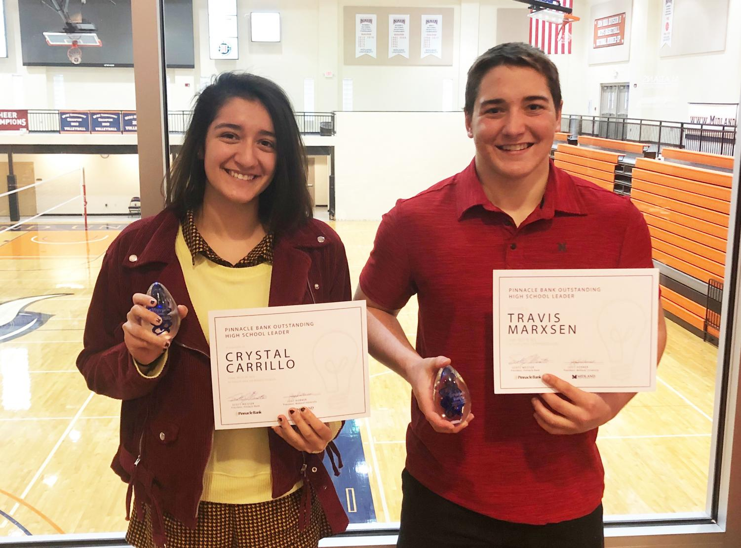 Crystal and Travis were  honored by Midland University.