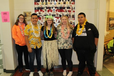 "Students dressed up with a ""Hawaiian"" theme."