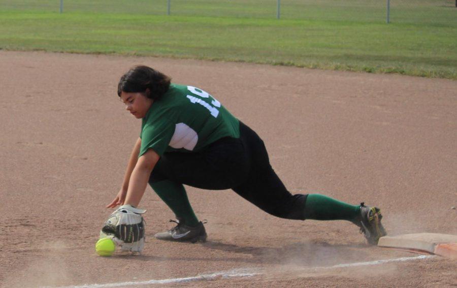 Chloe Aragon covering first base for the Schuyler softball team.