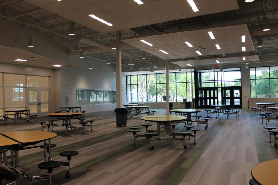 The new cafeteria is near the new West gym and East gym.