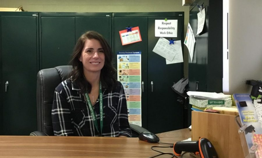 Becky Lefdal is the SCHS Library Assistant, who is available to help you check out books.