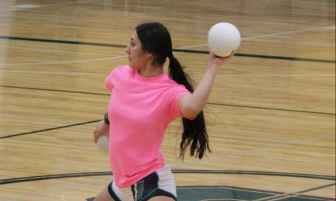 Stefany Rocha playing in the Dodgeball Tournament.