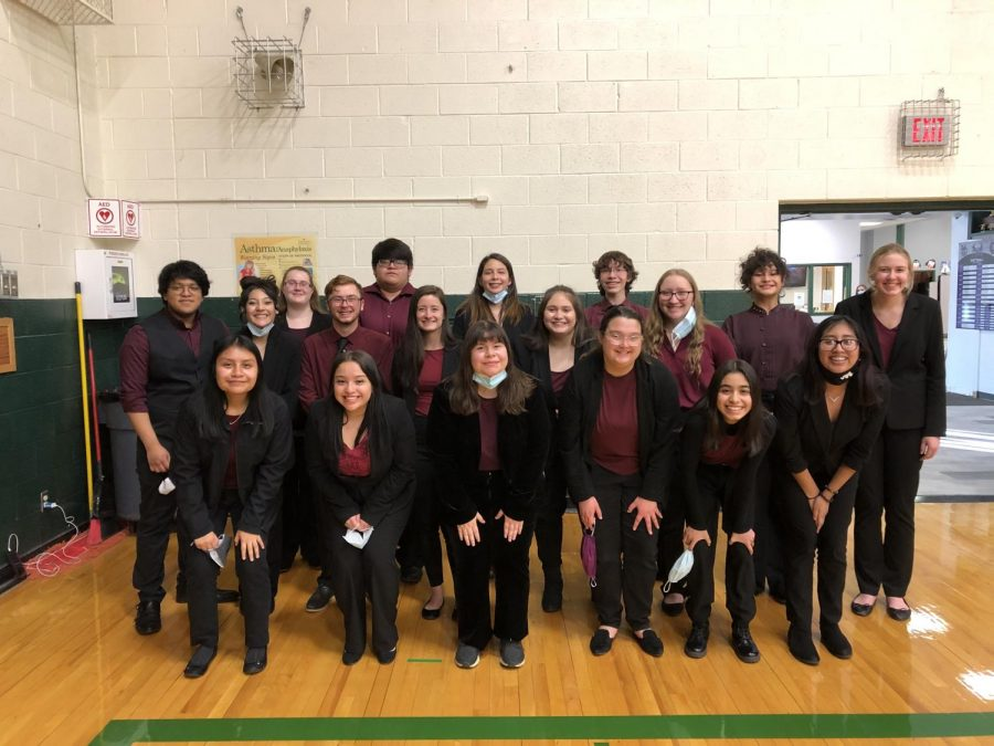 The Speech team poses for a picture at their student showcase.